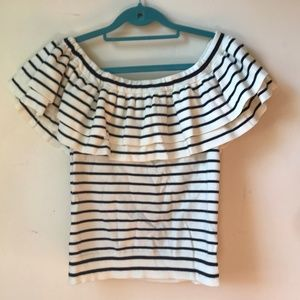 J Crew Ruffle Off The Shoulder Striped Top
